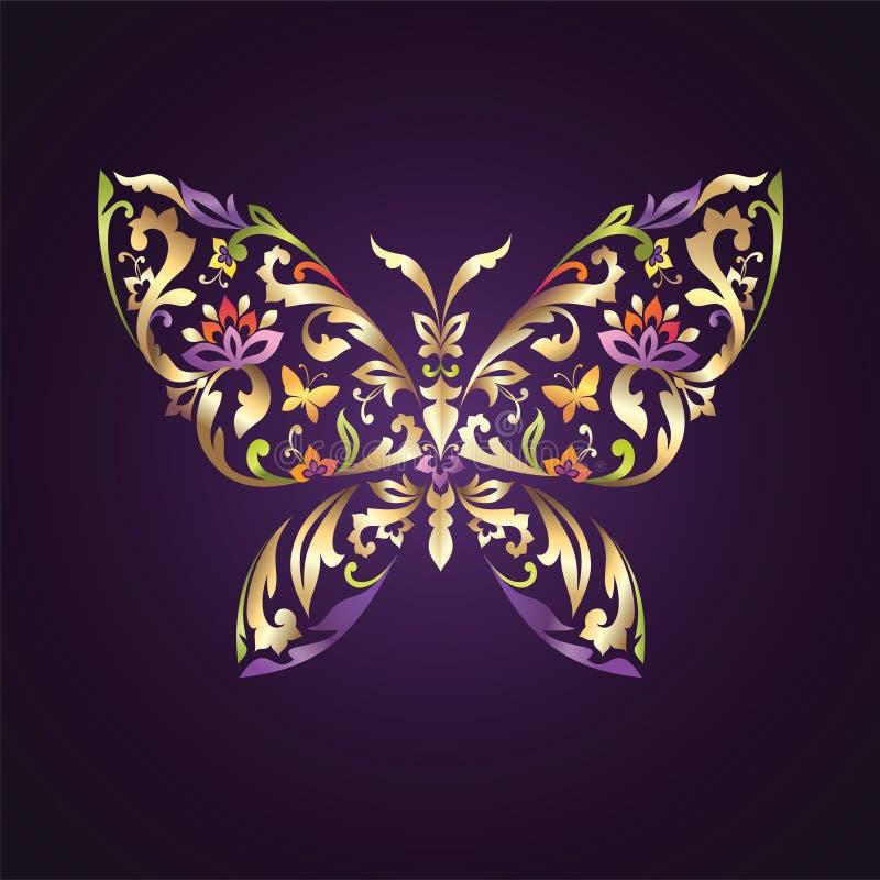 与花卉模式的华丽蝴蝶符号 库存例证