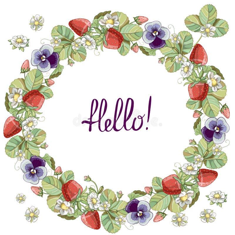与花卉浪漫元素、草莓和紫罗兰的无缝的花圈 皇族释放例证