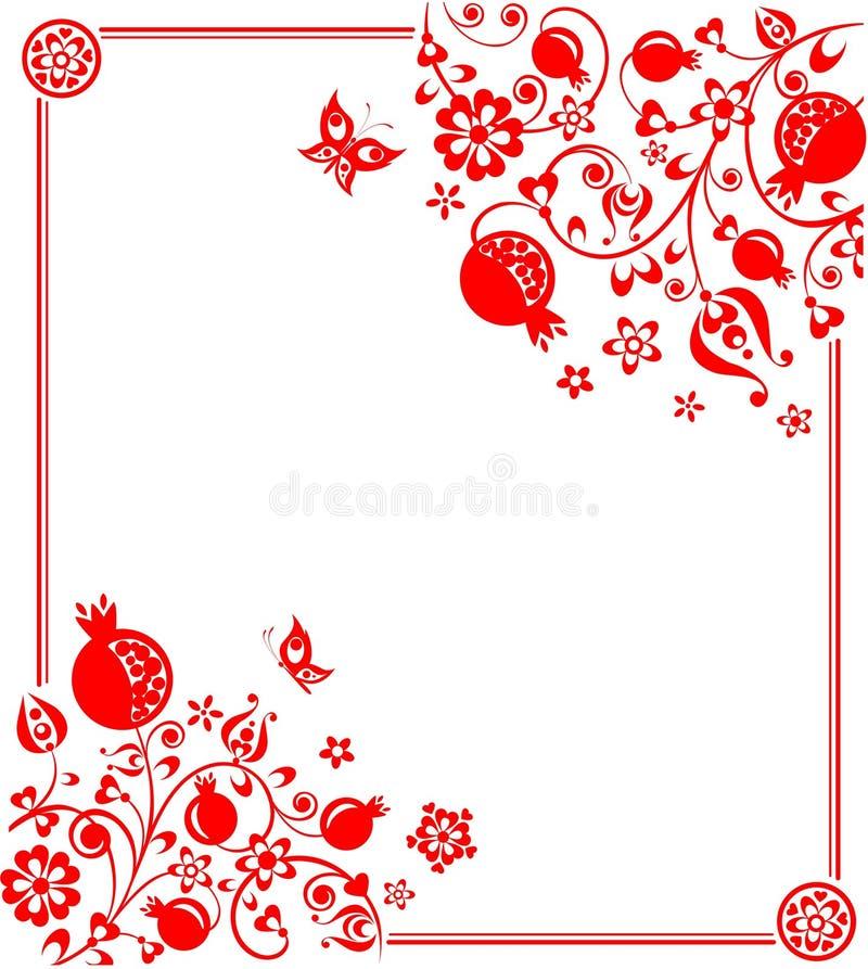 与花卉种族红色装饰的贺卡与抽象石榴树、果子、花和蝴蝶 库存例证