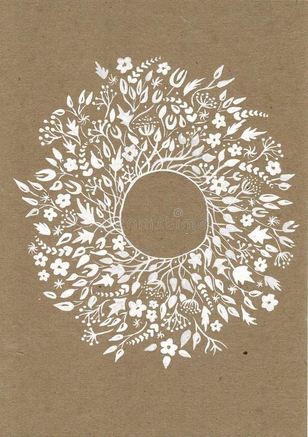 与花卉花圈和丝带的美丽的贺卡 明亮的例证,可以使用作为创造卡片,邀请 向量例证