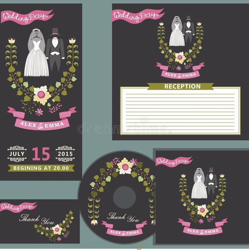 与花卉花圈的逗人喜爱的婚礼设计模板集合 皇族释放例证