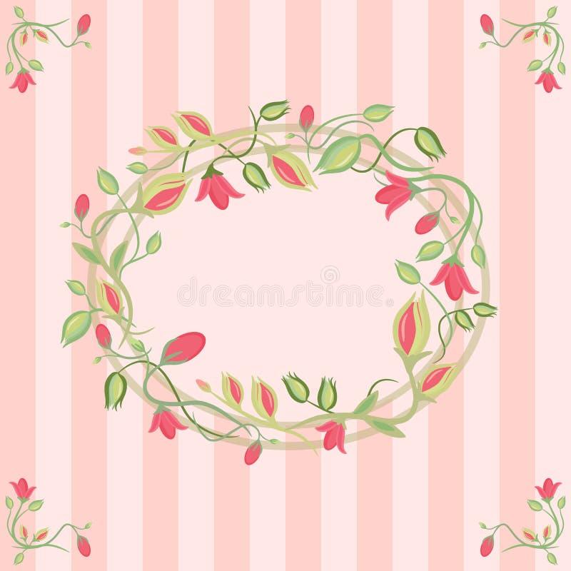 与花卉花圈的贺卡 库存例证