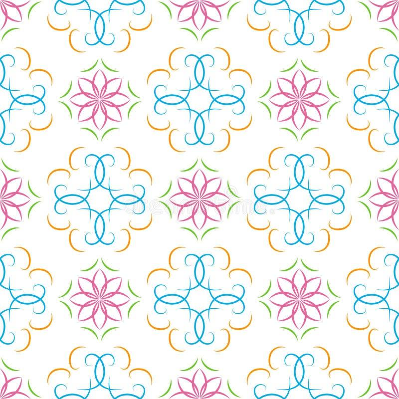 与花卉蔓藤花纹的无缝的多彩多姿的抽象几何传染媒介样式 库存例证