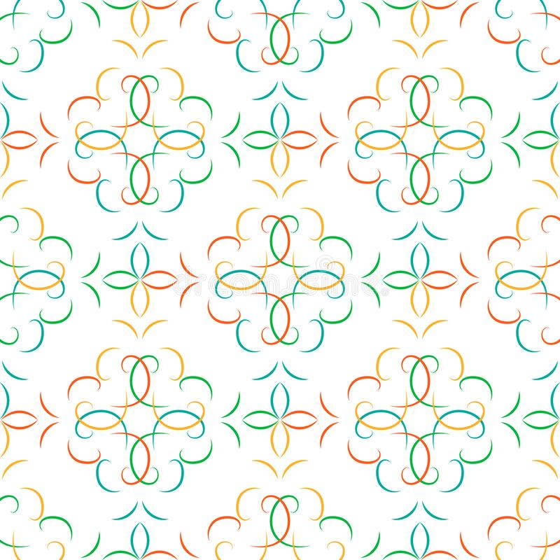 与花卉蔓藤花纹的无缝的多彩多姿的抽象几何传染媒介样式 皇族释放例证