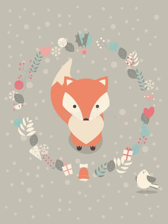 Download 与花卉装饰的逗人喜爱的圣诞节小狐狸 向量例证. 插画 包括有 背包, 逗人喜爱, 设计, 欢乐, 12月 - 62535831