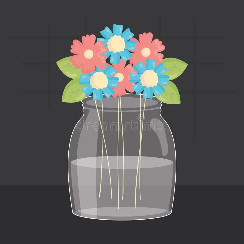 与花卉装饰的金属螺盖玻璃瓶玻璃 库存例证