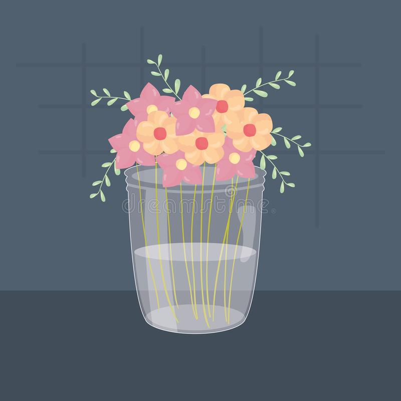 与花卉装饰的金属螺盖玻璃瓶玻璃 向量例证