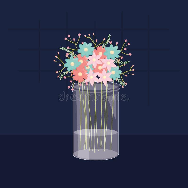 与花卉装饰的金属螺盖玻璃瓶玻璃 皇族释放例证
