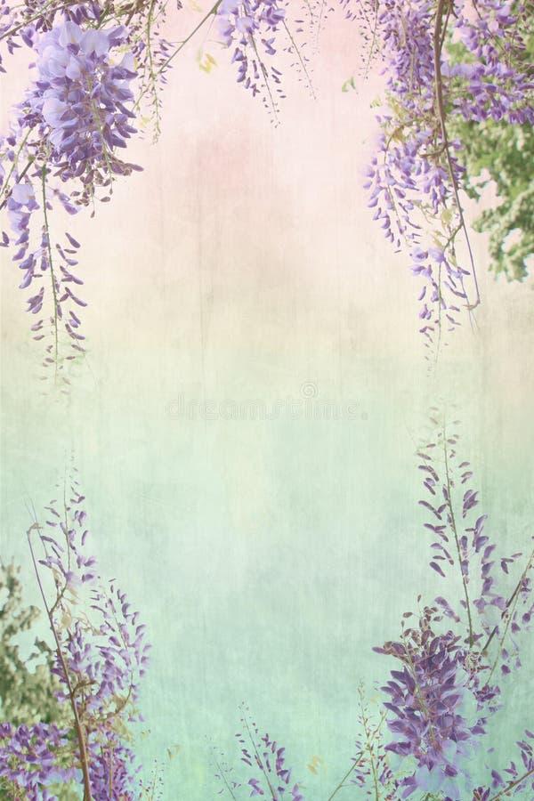 与花卉边界的脏的背景 免版税库存照片