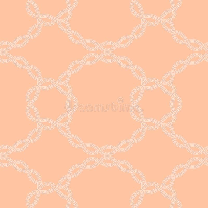 与花卉鞋带,链子的简单的中立无缝的样式 皇族释放例证