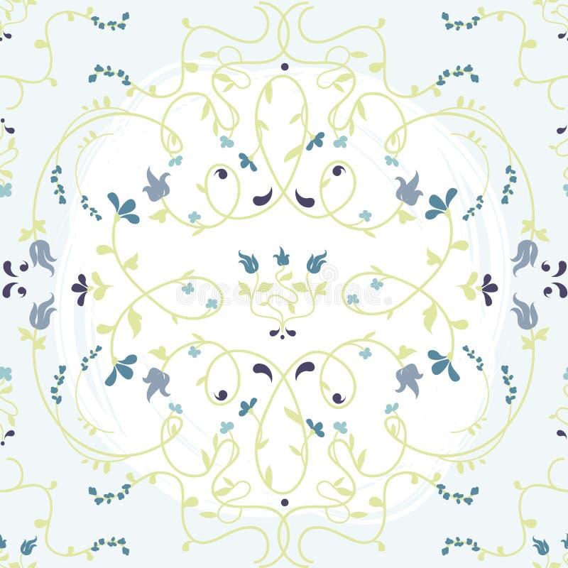与花卉结节的美好的无缝的纹理 向量例证