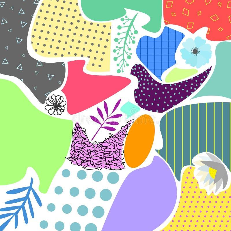 与花卉elemens的Colorfull抽象几何背景和纹理孟菲斯称呼传染媒介例证 向量例证