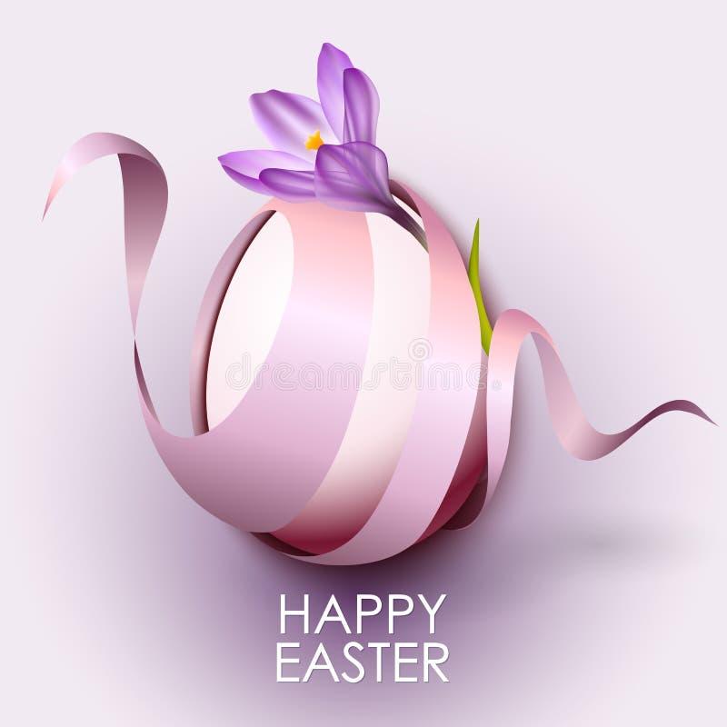 与花和丝带的愉快的复活节贺卡模板 向量例证