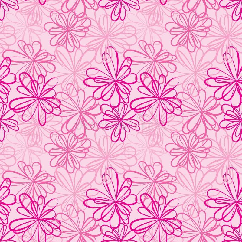 与花和丝带的无缝的样式在桃红色背景 库存例证