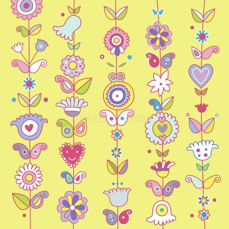 与花和佩兹利的装饰背景 向量例证