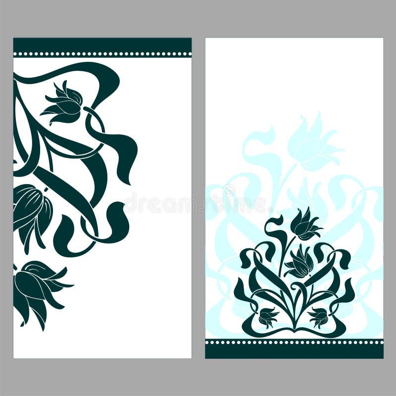 与花和卷毛的葡萄酒华丽卡片 免版税图库摄影