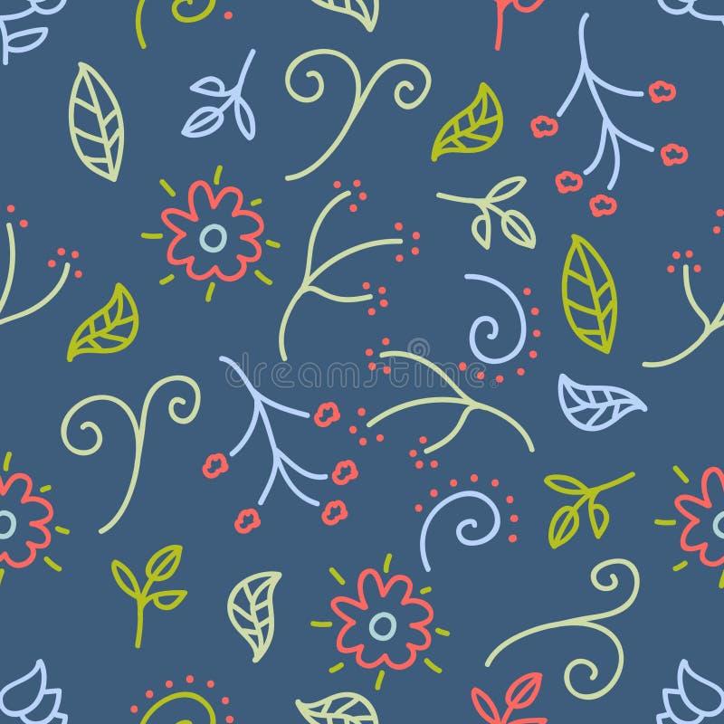 与花和叶子乱画的无缝的样式在蓝色背景艺术品的,逗人喜爱的样式 向量例证