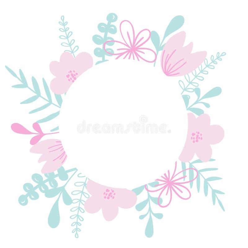 与花和叶子的圆的传染媒介框架 对婚姻的邀请卡片,印刷品 库存例证