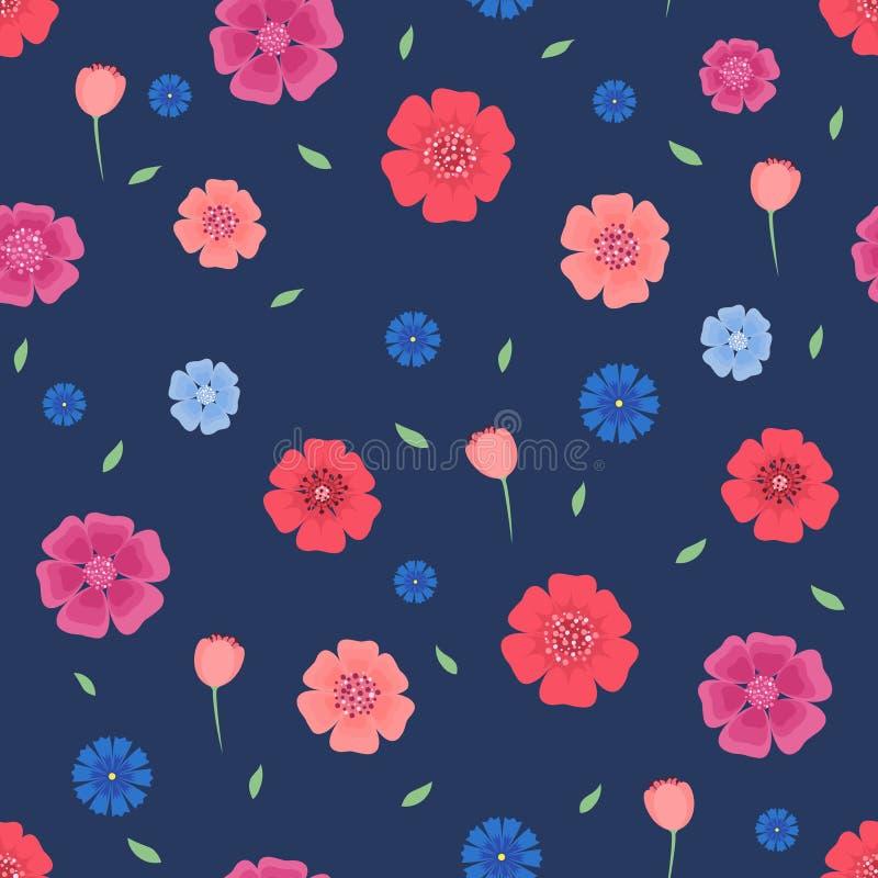 与花和叶子的无缝的样式在深蓝背景 皇族释放例证