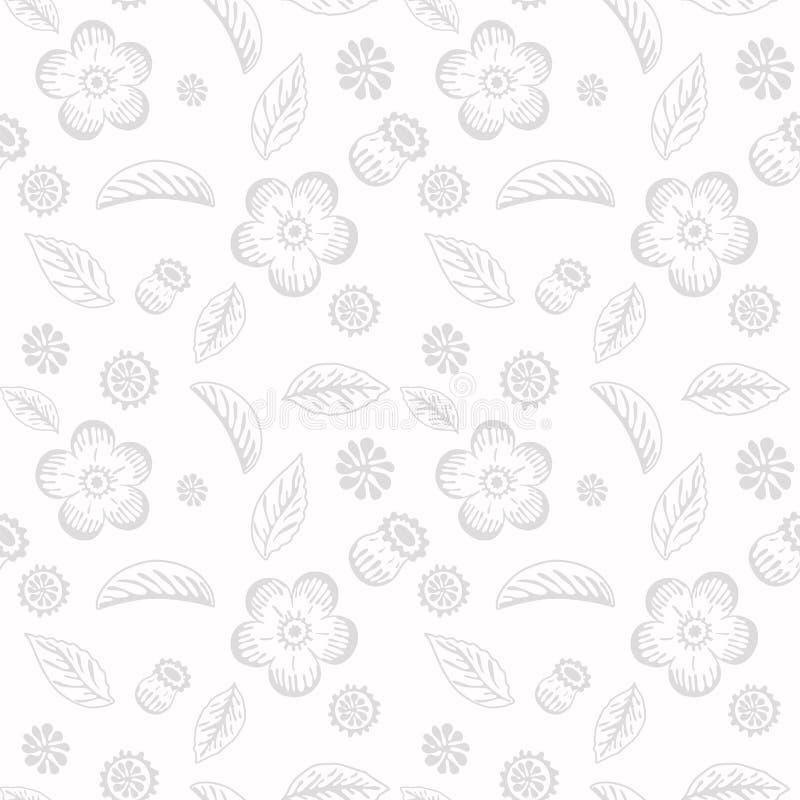 与花和叶子的精美花卉无缝的背景 库存图片