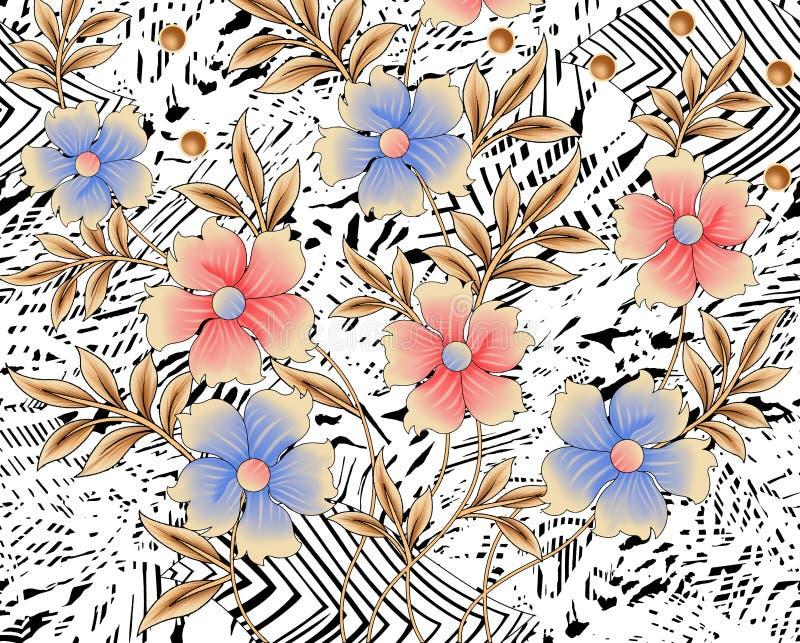 与花和叶子的背景设计 库存例证