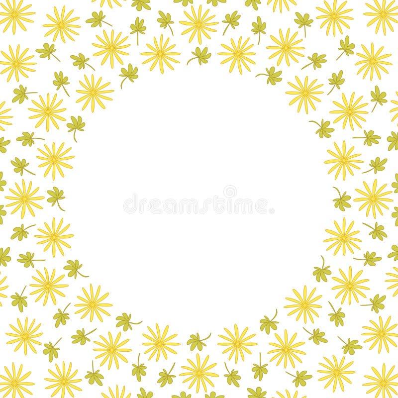 与花和叶子的逗人喜爱的背景圈子边界框架 皇族释放例证