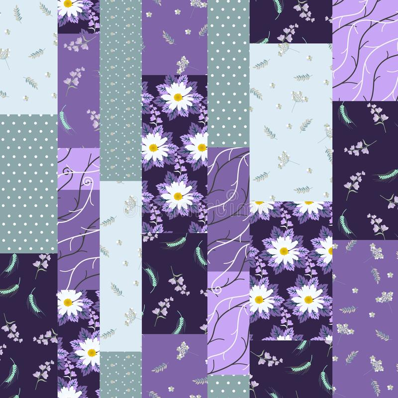 与花和圆点装饰品的无缝的补缀品样式 在紫罗兰色和绿色的传染媒介例证 库存例证