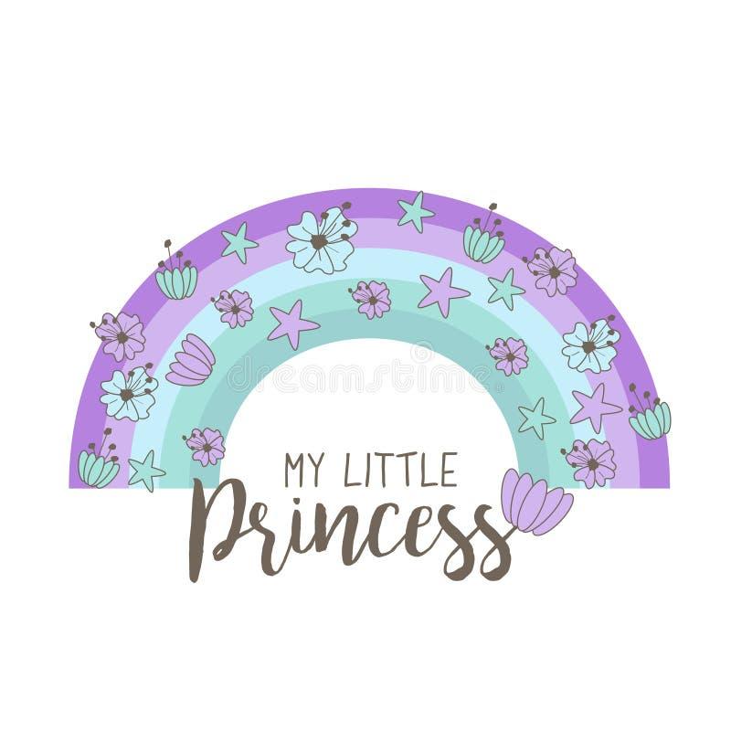 与花和壳的手拉的彩虹在淡色 婴儿送礼会的逗人喜爱的例证,生日, T恤杉,杯子,卡片a 库存例证