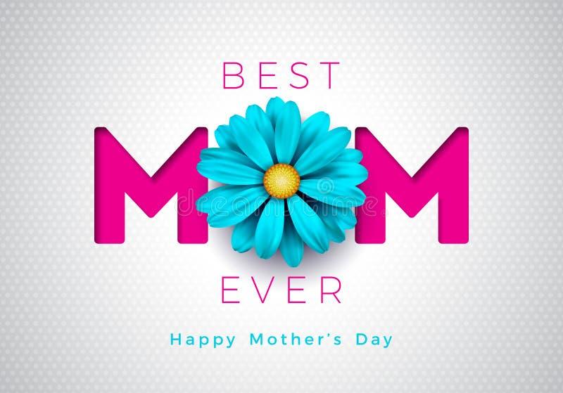 与花和妈妈印刷设计的愉快的母亲节贺卡例证在白色背景 向量 库存例证