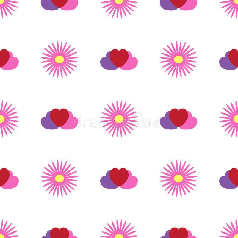 与花和心脏的简单的无缝的样式 花卉传染媒介例证 皇族释放例证