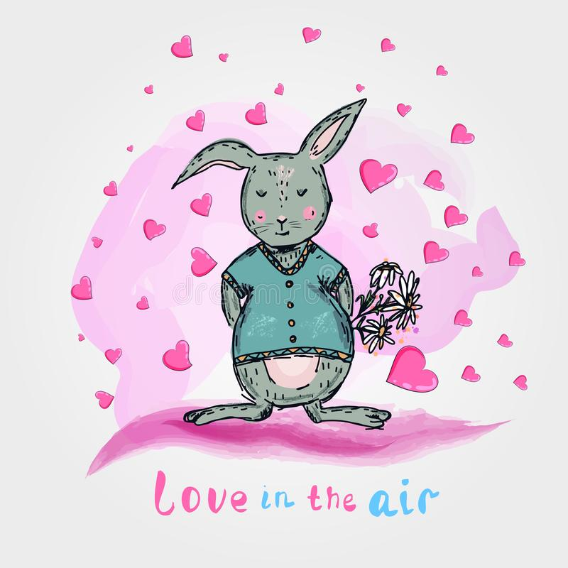 与花和心脏的逗人喜爱的兔子 动画片司令员枪他的例证战士秒表 一刹那膝上型计算机光草图样式 向量例证