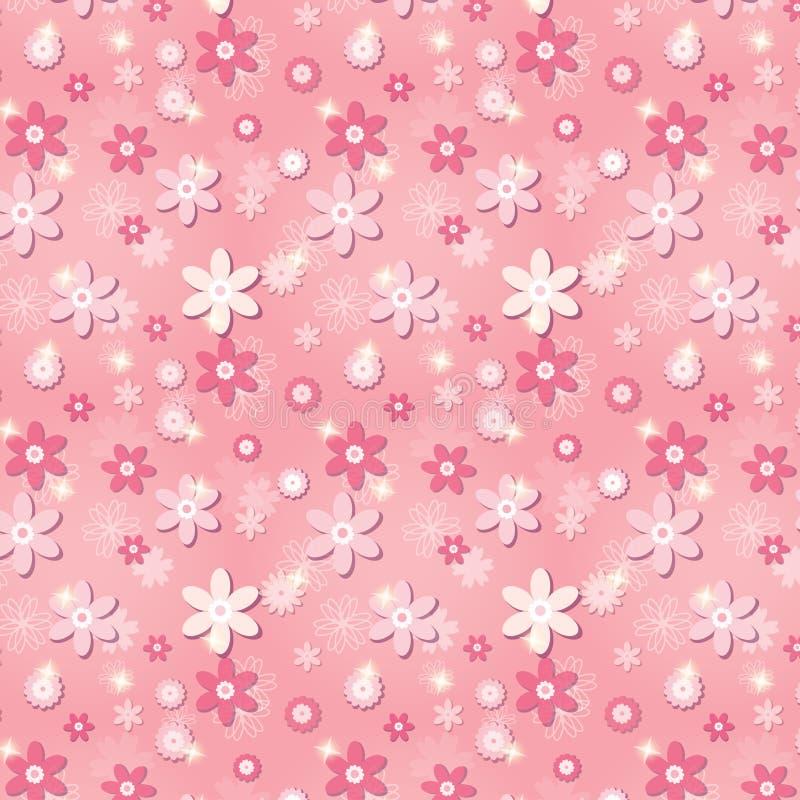 与花和星的桃红色无缝的样式 向量例证