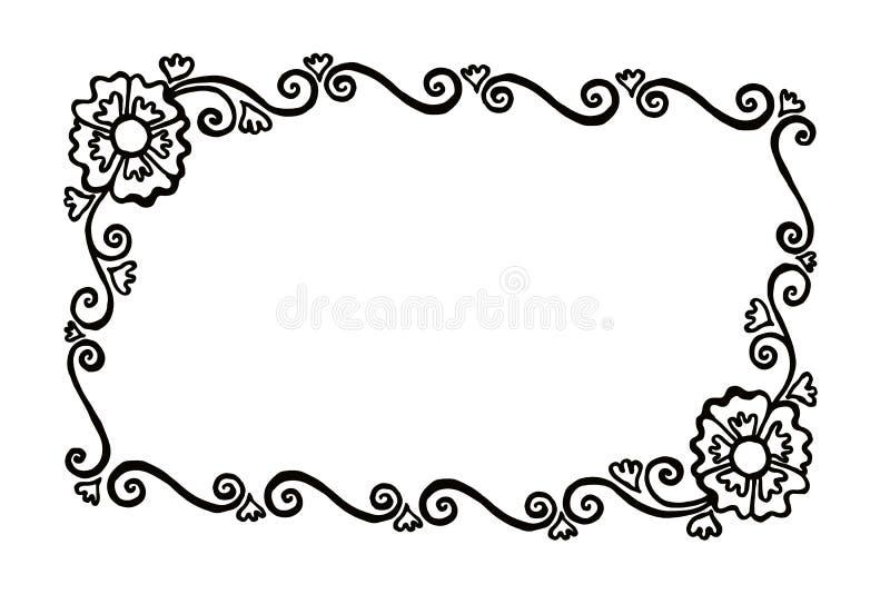 与花和杂种狗的长方形装饰被绘的传染媒介框架 库存照片