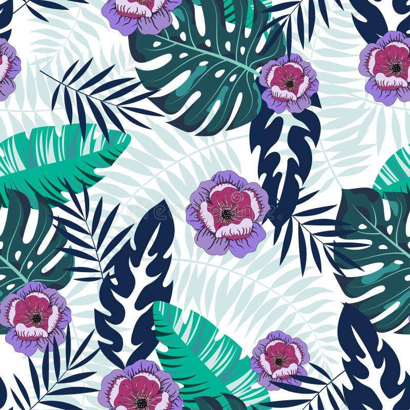 与花和棕榈叶monstera的无缝的热带样式 皇族释放例证