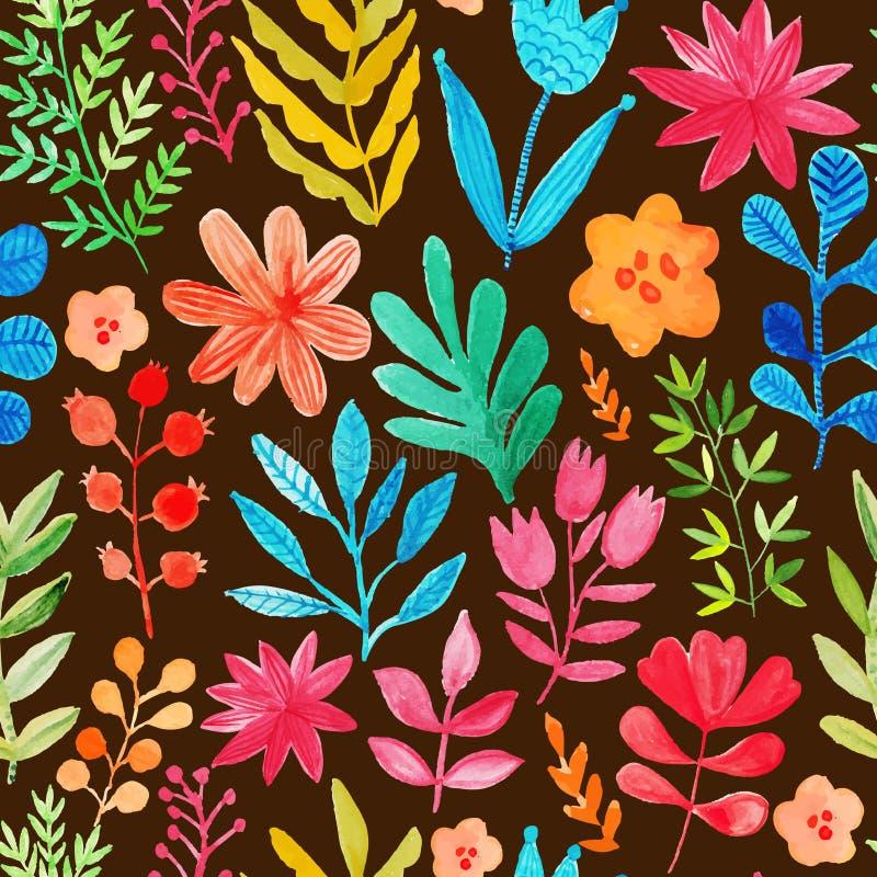与花和植物的传染媒介样式 花束装饰花卉例证玫瑰向量 原始的花卉无缝的背景 明亮的颜色水彩,秋天夏天 皇族释放例证