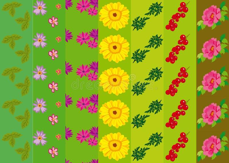 与花和植物的传染媒介样式 花束装饰花卉例证玫瑰向量 原始花卉无缝 免版税库存图片