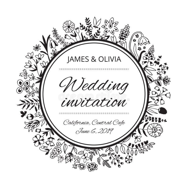 与花和植物的婚姻的请帖模板 免版税库存图片
