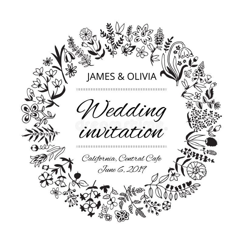 与花和植物的婚姻的请帖模板 免版税库存照片
