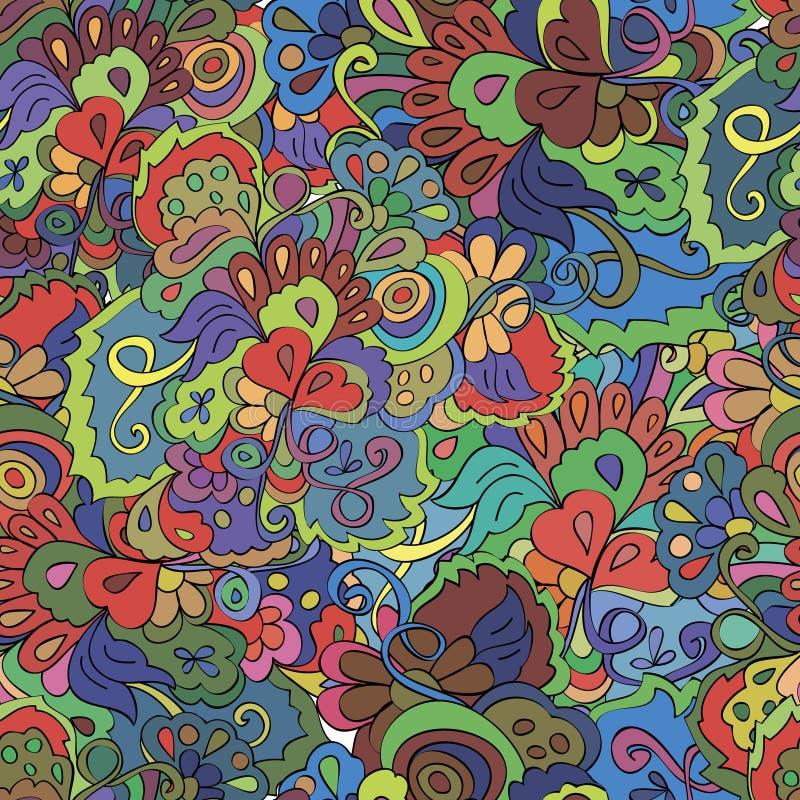 与花和漩涡的乱画无缝的样式, 向量例证