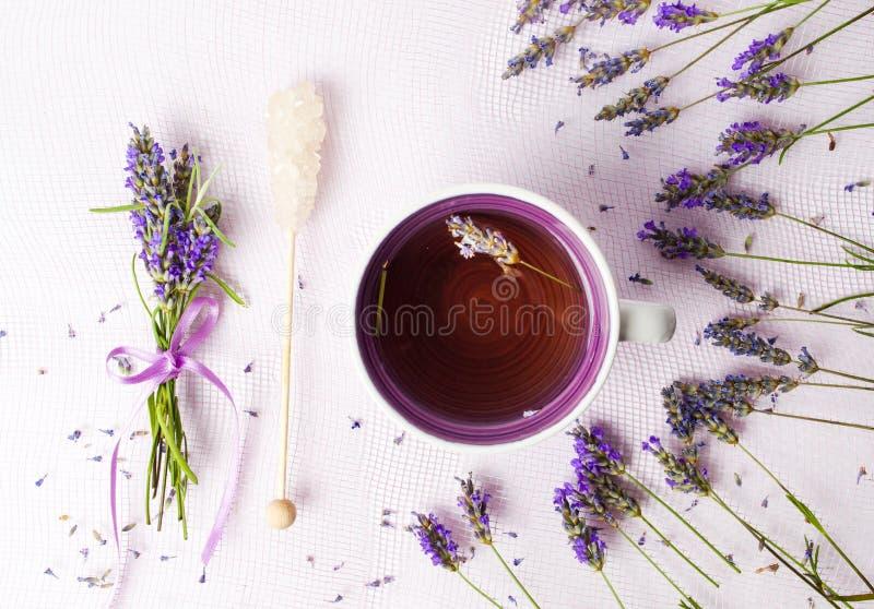 与花和糖棍子的淡紫色茶 库存照片
