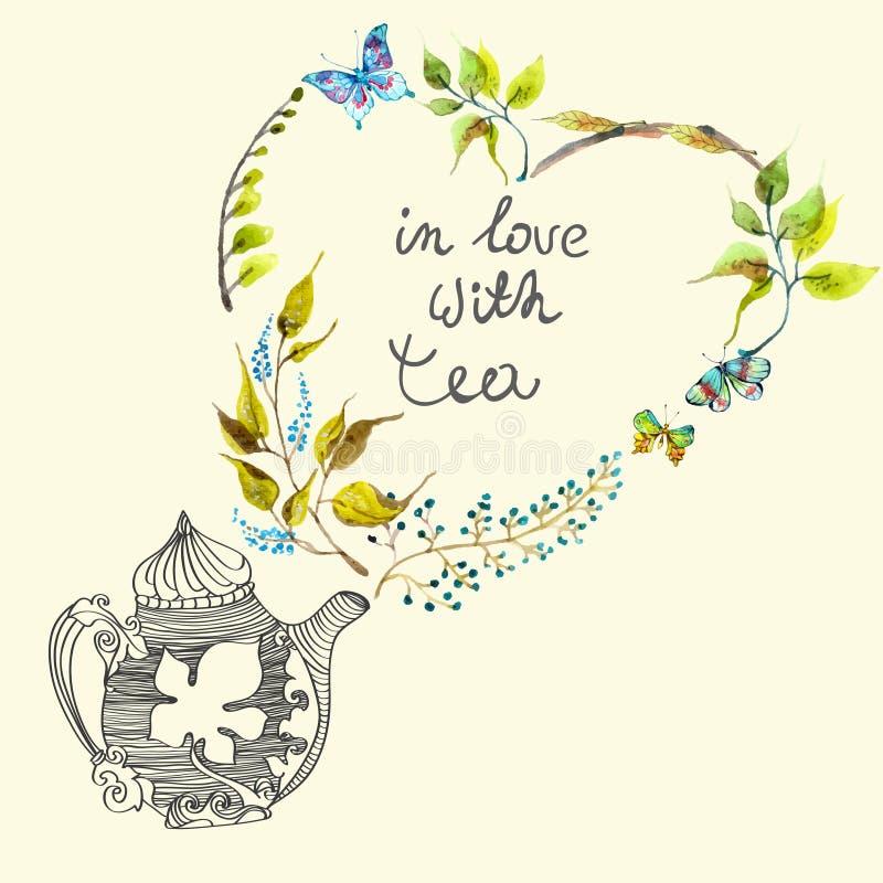 与花和茶壶的水彩五颜六色的背景 皇族释放例证