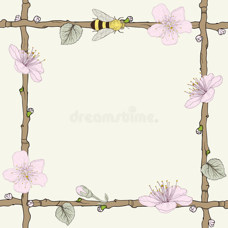 与花和蜂的枝杈框架 向量例证