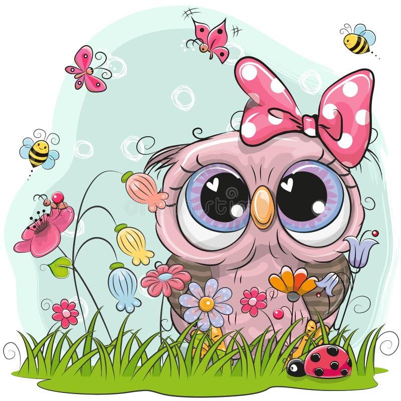 与花和蝴蝶的逗人喜爱的猫头鹰图片