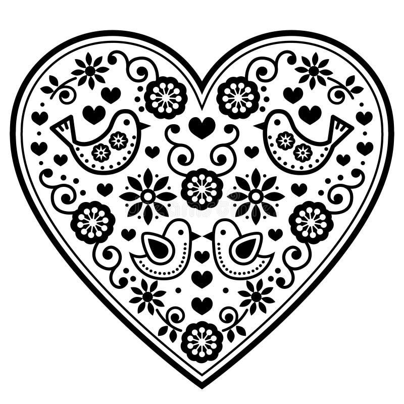 与花和鸟-华伦泰` s天,婚礼,生日贺卡的斯堪的纳维亚民间心脏黑色样式 向量例证