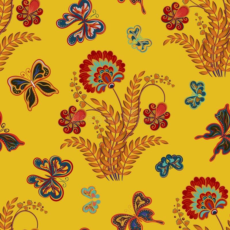 与花和蝴蝶的无缝的纹理 不尽的花卉模式 无缝的样式可以为墙纸使用 皇族释放例证