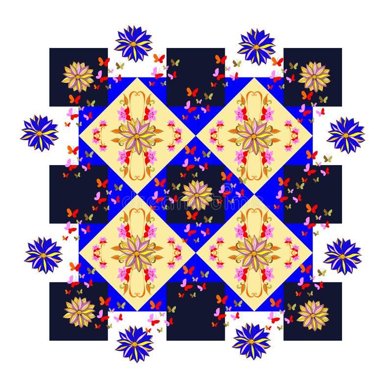 与花和蝴蝶的美好的桌布在几何背景 向量例证