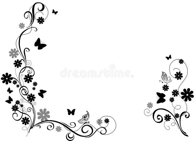 与花和蝴蝶的黑装饰品 库存例证