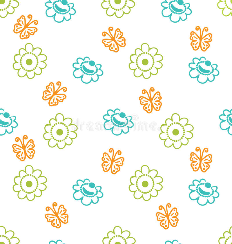 与花和蝴蝶,高雅样式的无缝的纹理 向量例证