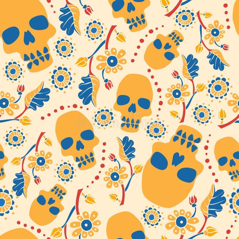 与花和头骨的五颜六色的无缝的样式 米黄背景 向量例证