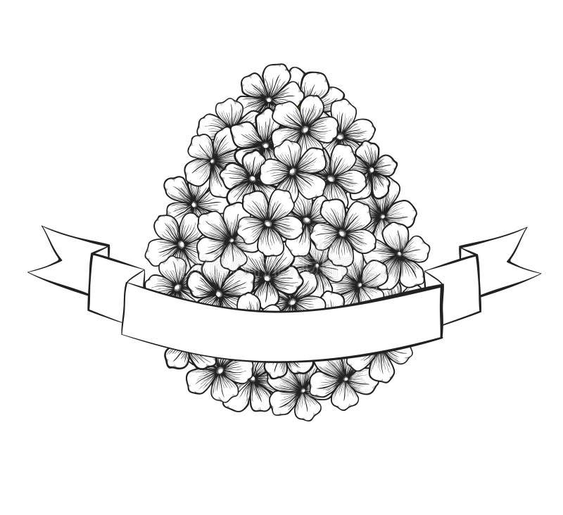 与花图表的美丽的单色黑白复活节贺卡以与丝带标记的鸡蛋的形式 库存例证